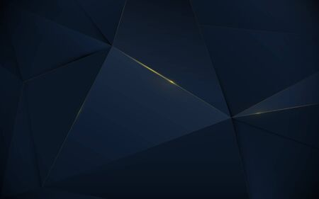 Abstract polygonal pattern luxury dark blue and gold background Illustration