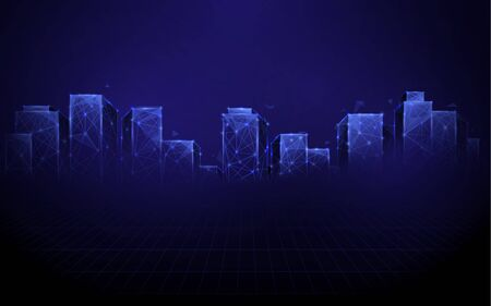 Night city. lines, triangles and particle style design. Illustration vector