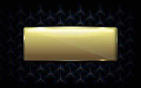 Abstract luxury geometric pattern background with Gold empty box for your design. Illustration vector Illustration