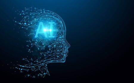 AI - Artificial intelligence. Ai digital brain. Robotics concept. Human face made from polygon. Illustration vector Stock Vector - 126723369
