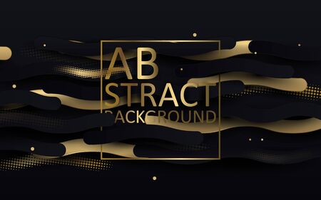 Black and gold luxury background. Abstract wavy lines and glitter confetti. banner, poster template design Illustration