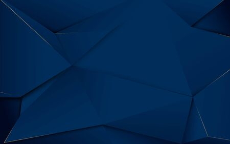 Abstract dark blue polygons and gold lines. Luxury background Illustration