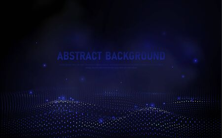 abstract 3d wave points grid. Big data visualization. Futuristic science and technology background. Visual information complexity. Sound visualization Illustration