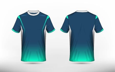 Blue, green and white layout e-sport t-shirt design template