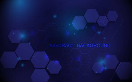 Abstract blue hexagons with technology digital hi tech concept background