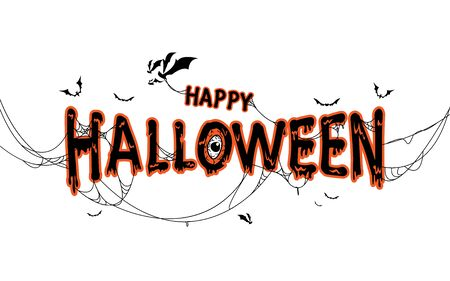 Happy Halloween lettering with spider  web and bats. Isolated illustration Ilustração