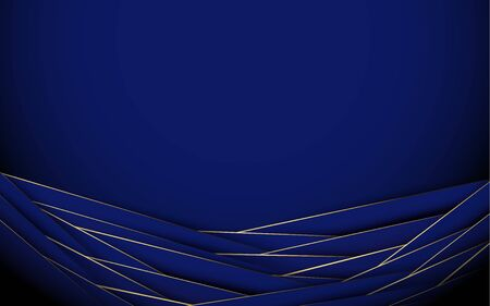 Royal blue and gold luxury. Abstract geometric wavy background Иллюстрация