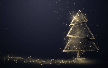 Gold christmas tree and Sparkling lights garland from lines, triangles and particle style design. Illustration vector Ilustracja