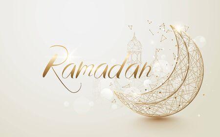 Ramadan Kareem islamic design crescent moon with mosque dome. Luxury concept design