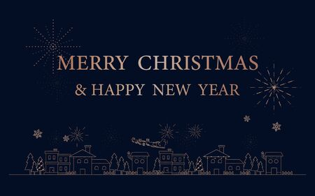 Merry Christmas and Happy New Year postcard. City in winter with Simple outline linear style Çizim
