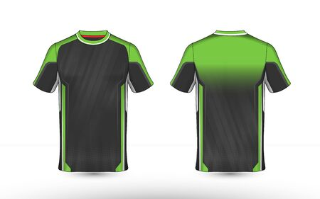 Green, black and white layout e-sport t-shirt design template