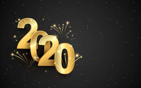 Happy new year 2020 banner. Golden sparkling luxury text 2020 with firework on black background