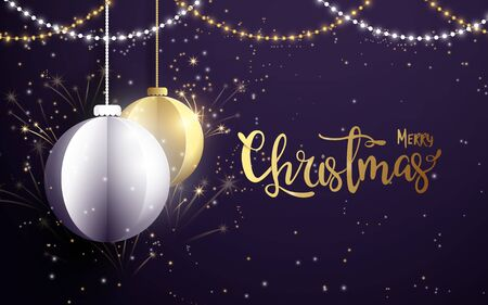 Merry Christmas and Happy New Year banner.White and golden christmas balls with Xmas sparkling lights garland, firework on dark purple background
