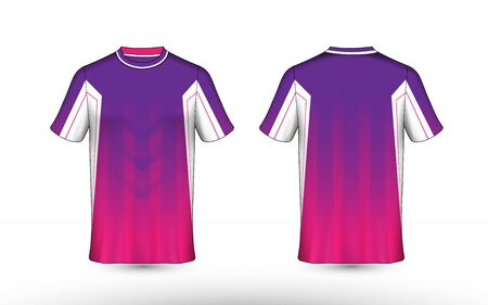 Purple, pink and white layout e-sport t-shirt design template