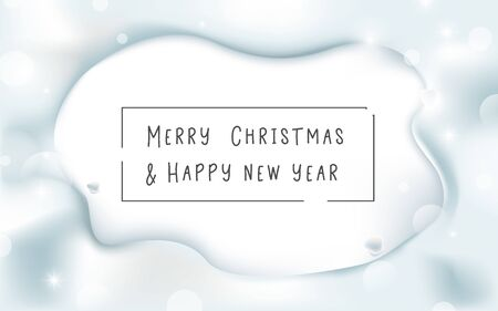 Snow with free space for your design. Merry Christmas and Happy New Year banner