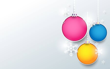 Colorful christmas balls with snowflake on white background. Paper art design. Merry Christmas and Happy New Year banner concept Ilustração