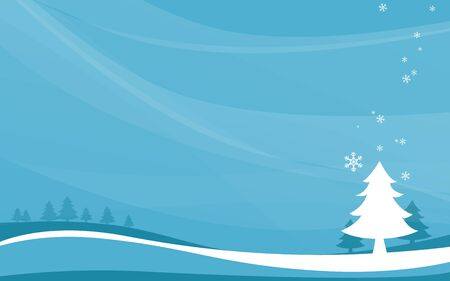 Merry Christmas and Happy New Year banner. winter landscape and snowflakes, christmas trees background