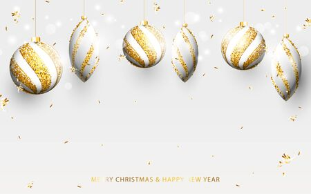 Gold and white christmas balls with golden garland, glitter confetti on white background. Christmas Banner, posters, headers, cards and website Ilustração