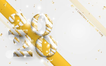 Happy new year banner. Gold and white stripes 2020 with golden garland, glitter confetti on white background