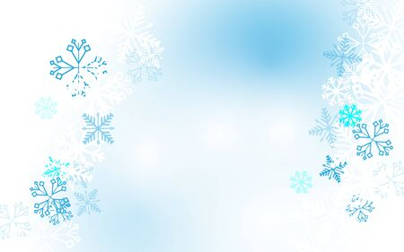 Merry Christmas and Happy New Year banner. Abstract white and blue  winter snowflakes background. Paper art and craft design. Space for your design Ilustração