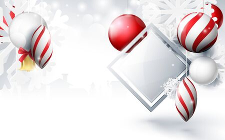 Red and white christmas balls with ornaments snowflakes, gold bell and geometric on bokeh background. Christmas Banner, posters, headers, cards and website