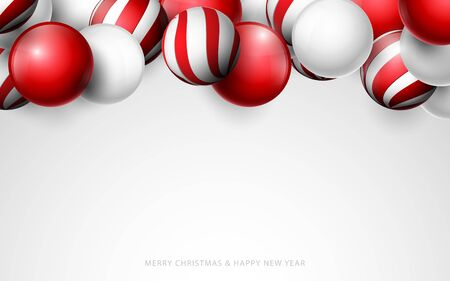 Red and white christmas balls. christmas Banner, posters, headers, cards and website