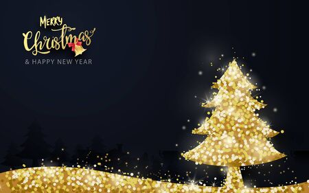 Shining gold christmas tree on dark blue background. christmas Banner, posters, cards and website