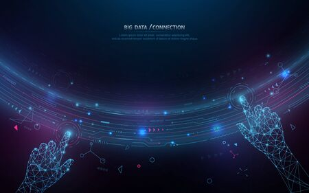 Abstract bigdata coding science background. Circle geometric particle. Hands touching big data stream and connection futuristic infographic Stock Illustratie