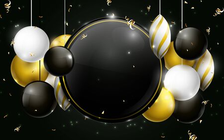 Black, gold and white christmas balls with black circle space for your design. Christmas Banner, posters, headers, cards and website