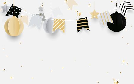 Gold, black and white christmas balls with golden garland, glitter confetti on white background. Christmas Banner, posters, headers, cards and website Ilustração
