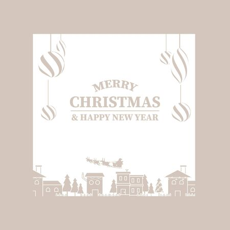 Happy new year banner. Vintage christmas balls with city. Two tone color background