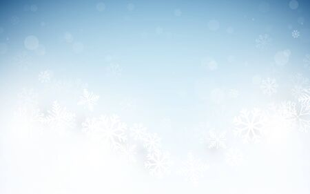 Merry Christmas and Happy New Year banner. Abstract white and blue  winter snowflakes background