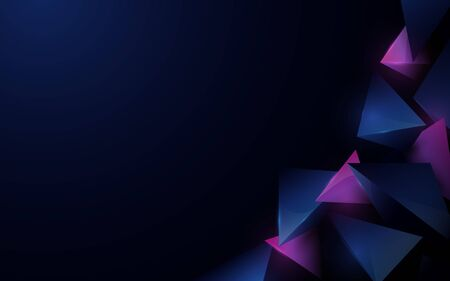 Abstract 3d polygonal pattern luxury dark blue with purple background Ilustração