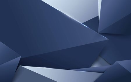 Abstract luxury silver and blue polygonal background. Space for your design Ilustração