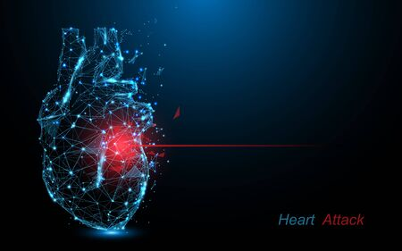 Human heart attack. Heart disease form lines, triangles and particle style design Illustration