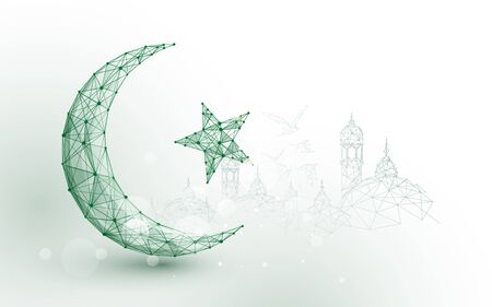 Moon star islam religion form lines, triangles and particle style design