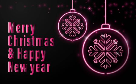 Happy new year banner. Neon sign of Christmas balls with christmas calligraphy on black background