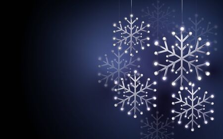 Merry Christmas and Happy New Year banner. Abstract silver snowflakes on dark purple background. Paper art and craft design. Space for your design
