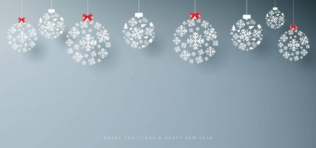 Merry Christmas and Happy New Year banner. Abstract white snowflakes on grey background. Paper art and craft design. Space for your design Ilustração