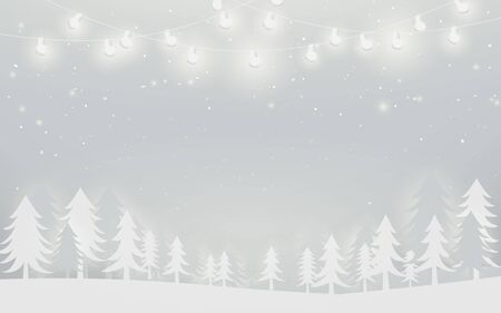 Merry Christmas and Happy New Year banner. winter landscape and snowflakes, christmas trees background. Paper art and craft design. White background Ilustração