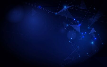 Abstract connecting dots and lines. Abstract polygonal space low poly dark blue background Ilustração