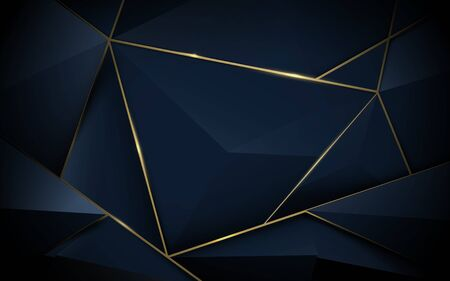 Abstract 3d polygonal pattern luxury dark blue with gold background