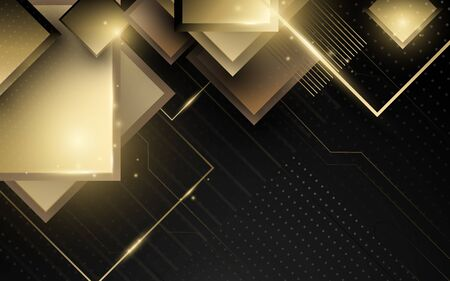 Abstract geometric gold luxury technology background
