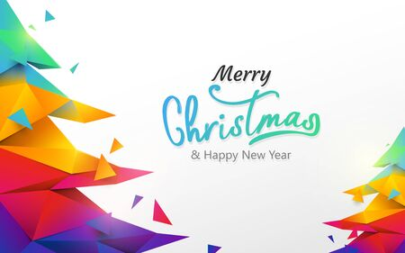 Merry Christmas and Happy new year banner. Colorful Christmas tree polygon on white background 일러스트