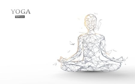 Person practices yoga and meditation in the lotus position. Zen meditation exercise. Lines, triangles and particle design