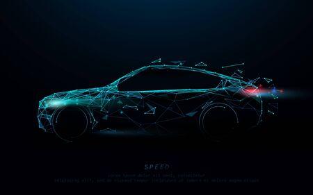 Abstrakter futuristischer Hochgeschwindigkeitssportwagen. Autoformlinien, Dreiecke und Partikeldesign. Illustrationsvektor