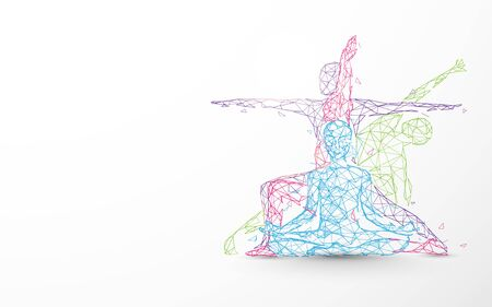 Person yoga exercise poses form lines, triangles and particle design 일러스트