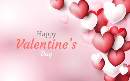 Valentines Day background. Red and white 3D hearts background