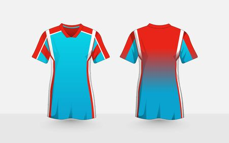 Blue, orange and white layout e-sport t-shirt design template