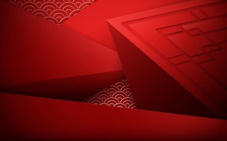 Red abstract 3D polygonal and geometric background. Chinese new year. Chinese and asian elements Ilustrace